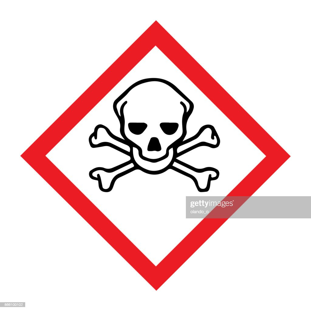 Standard Pictogam for Toxic Symbol, Warning sign of Globally Harmonized System (GHS)