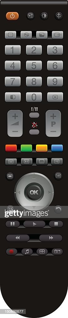 A standard remote control with various buttons