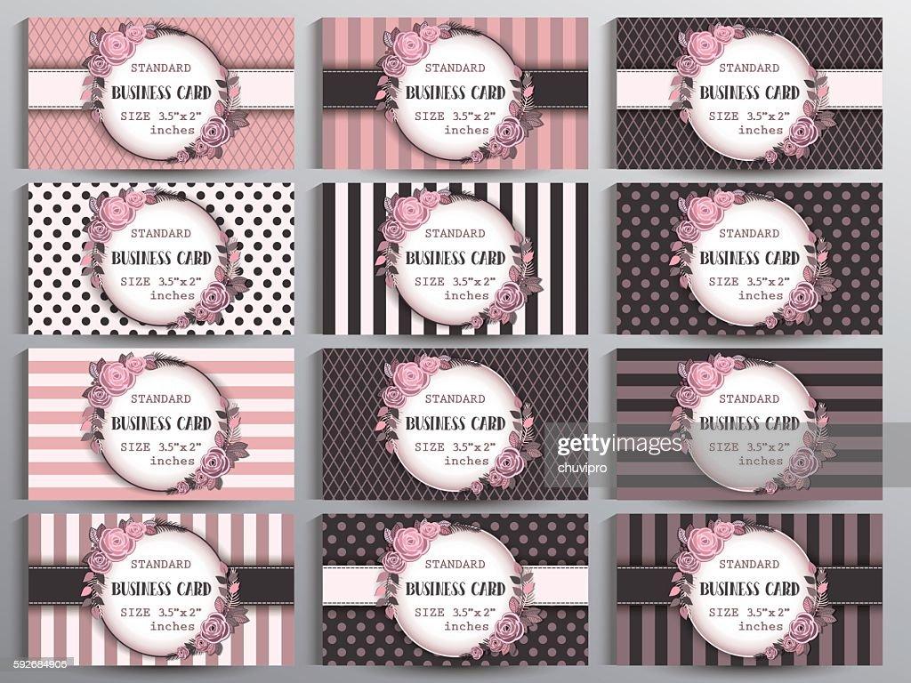 Standard Us Business Cards Set Vintage Collection Of Twelve Cards
