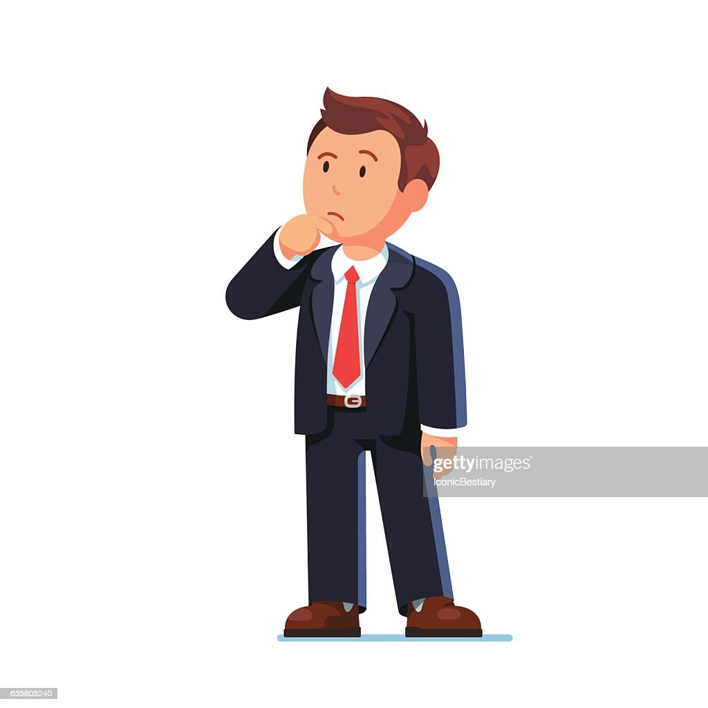 Standing business man making thinking gesture