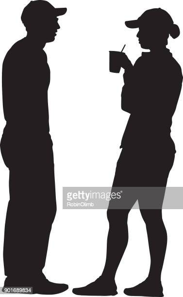 Standing Couple Talking Silhouette