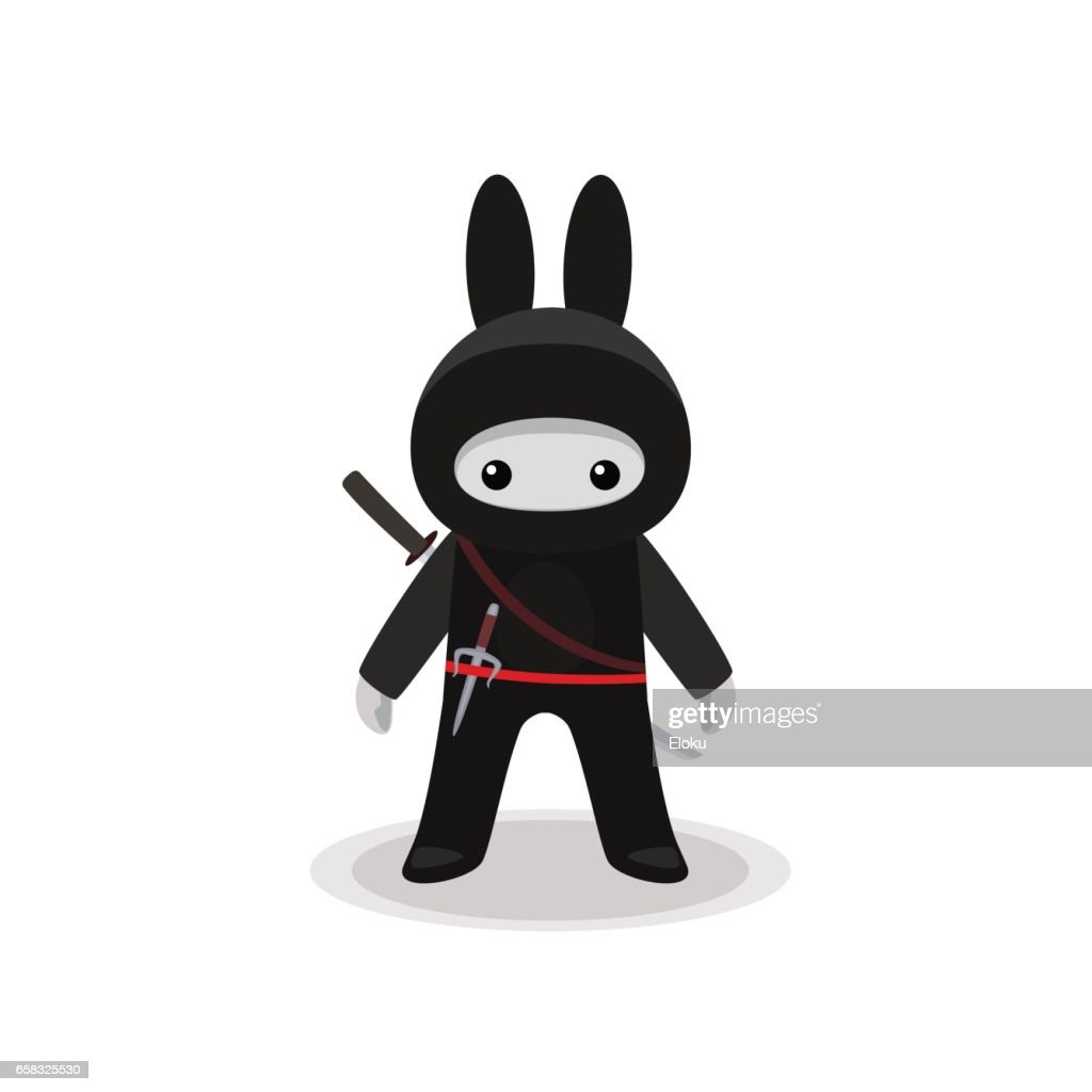 Standing cute bunny ninja isolated with sai and katana on white background