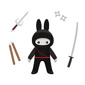 Standing cute bunny ninja isolated with weapons on white background