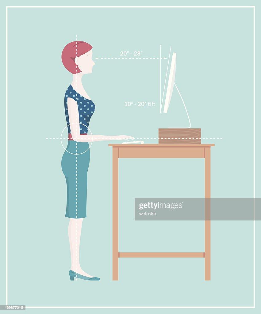 Standing Desk Posture : Vector Art