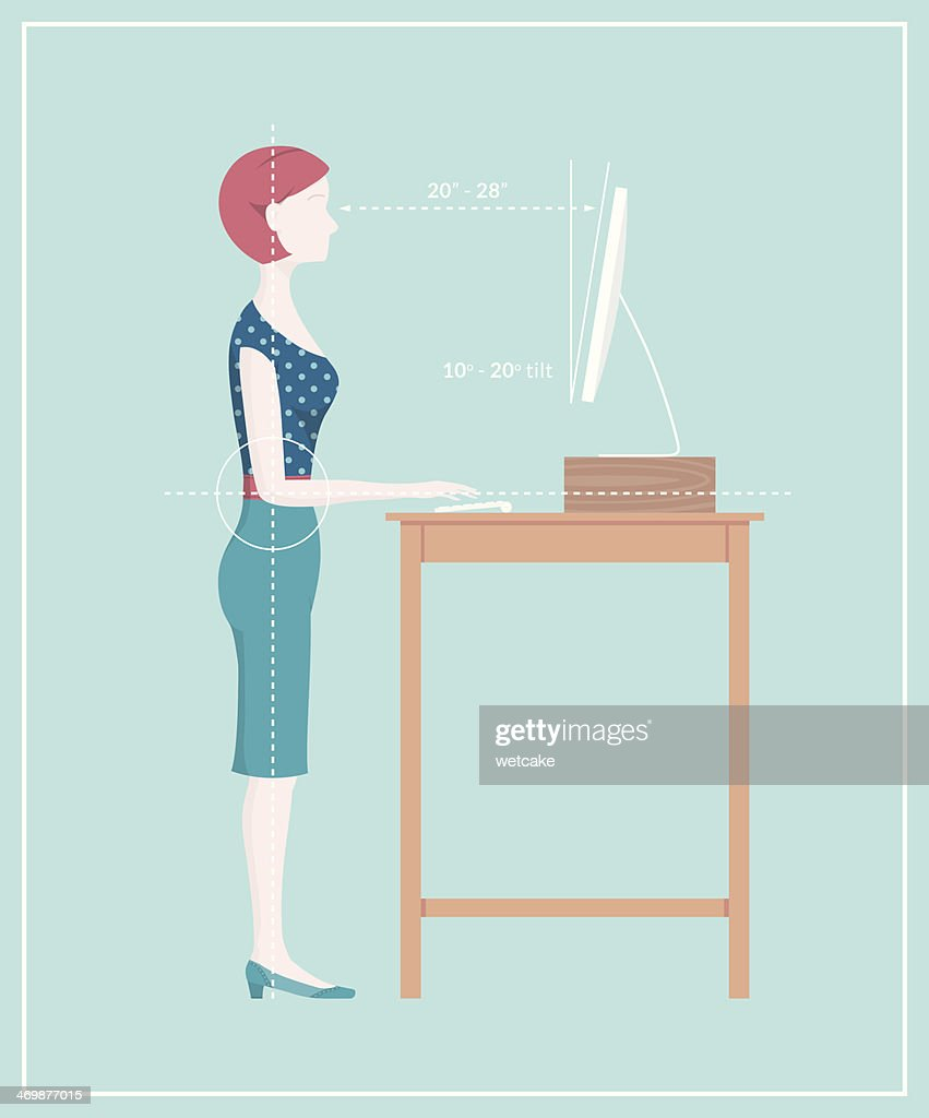 Standing Desk Posture Vector Art Getty Images