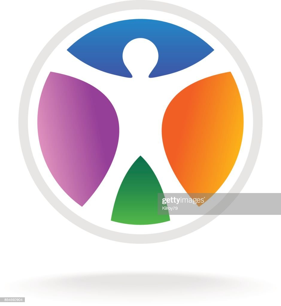 Standing Man In The Color Circle Symbol Vector Art Getty Images