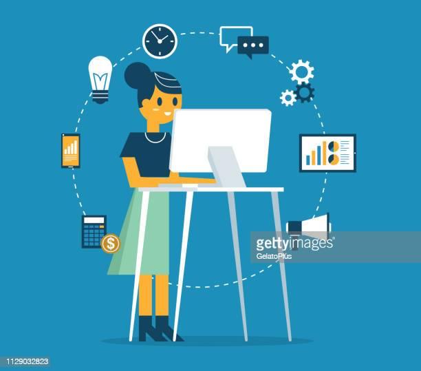 ständigen büro - kauffrau - stehen stock-grafiken, -clipart, -cartoons und -symbole