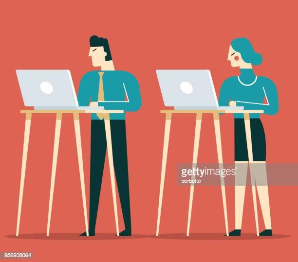 ständigen büro - stehen stock-grafiken, -clipart, -cartoons und -symbole