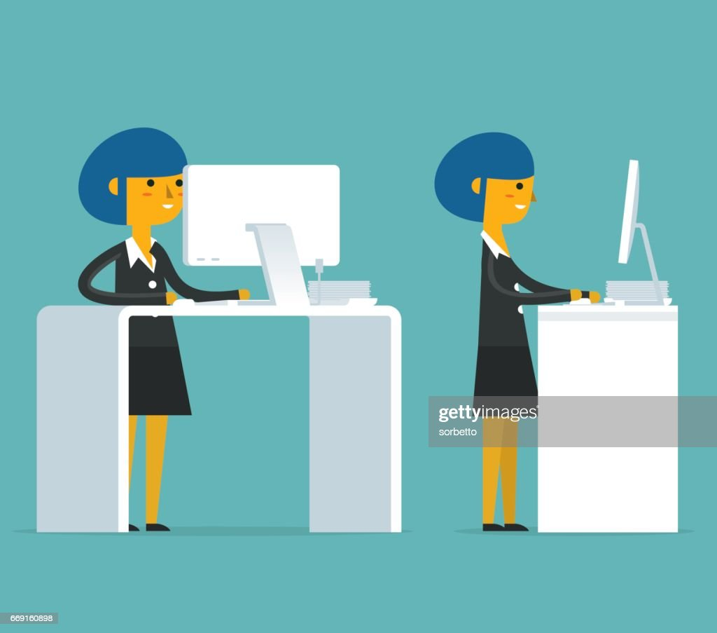 Standing Office with Businesswoman : stock illustration