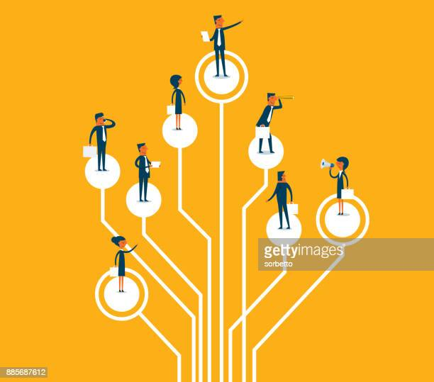 standing on logic tree - employee stock illustrations
