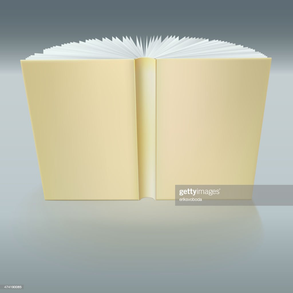 Standing open book with pages