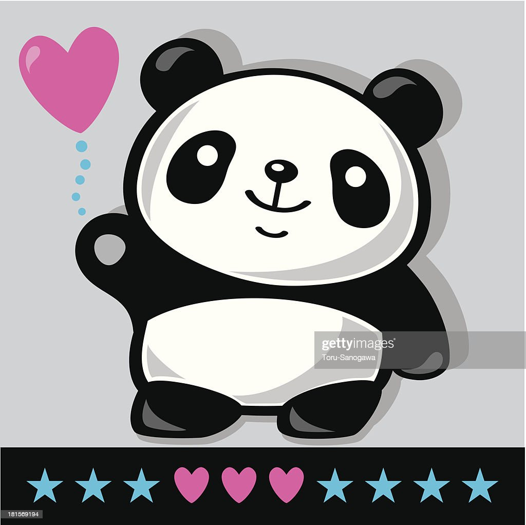 Standing Panda with heart