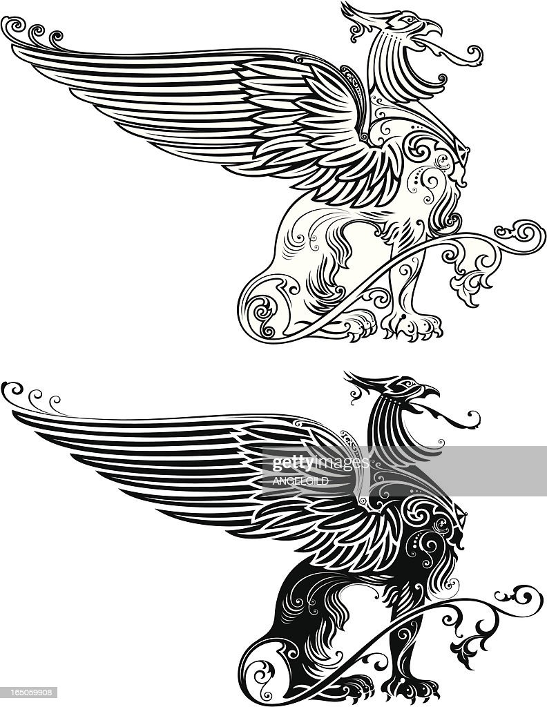 Standing Phoenix Illustration : stock illustration