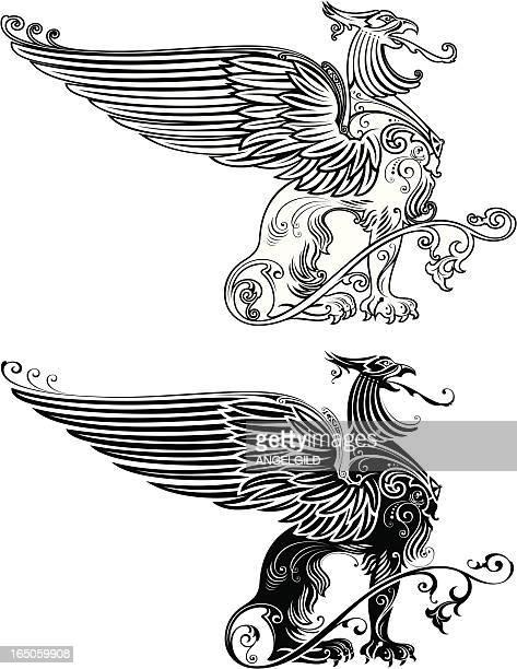 standing phoenix illustration - animal body stock illustrations, clip art, cartoons, & icons