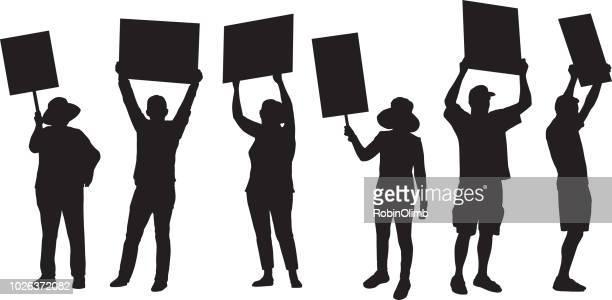 illustrazioni stock, clip art, cartoni animati e icone di tendenza di standing protester silhouettes - manifestante