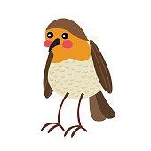 Standing Robin bird animal cartoon character vector illustration.