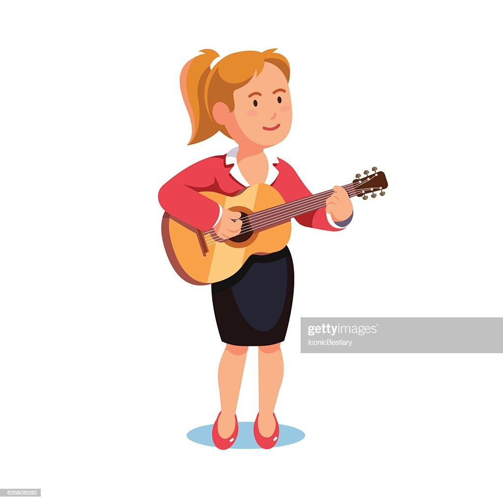 Standing woman in a formal dress playing guitar