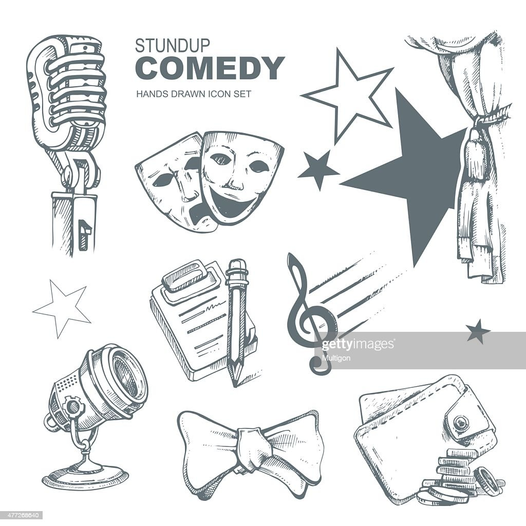 standup comedy icons set