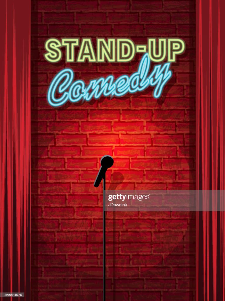 Stand-up Comedy Night stage with neon sign and brick wall