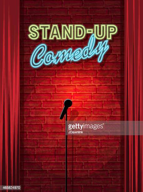 stand-up comedy night stage with neon sign and brick wall - humor stock illustrations