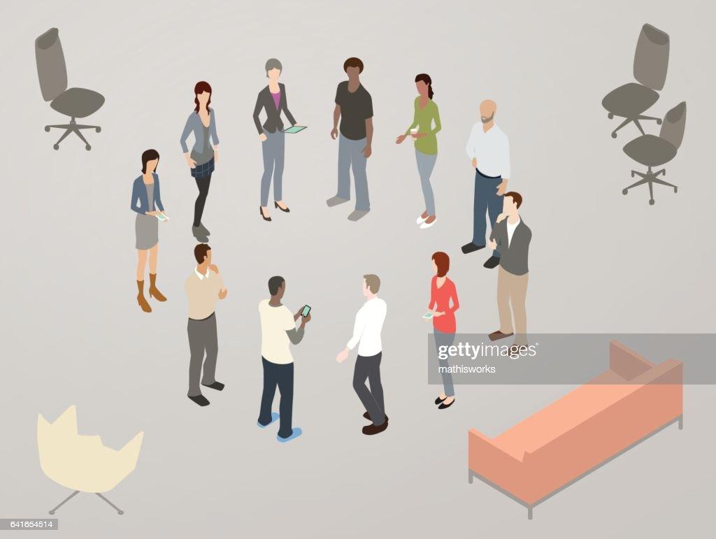 Standup scrum meeting illustration : Vector Art