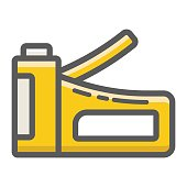 Staple gun filled outline icon, build and repair, stapler sign vector graphics, a colorful line pattern on a white background, eps 10.