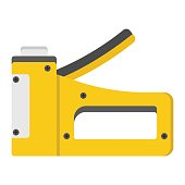 Staple gun flat icon, build and repair, stapler sign vector graphics, a colorful solid pattern on a white background, eps 10.