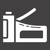Staple gun glyph icon, build and repair, stapler sign vector graphics, a solid pattern on a black background, eps 10.