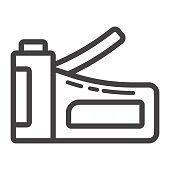 Staple gun line icon, build and repair, stapler sign vector graphics, a linear pattern on a white background, eps 10.