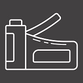 Staple gun line icon, build and repair, stapler sign vector graphics, a linear pattern on a black background, eps 10.