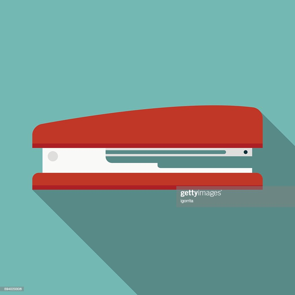 stapler icon witn long shadow. flat style vector illustration