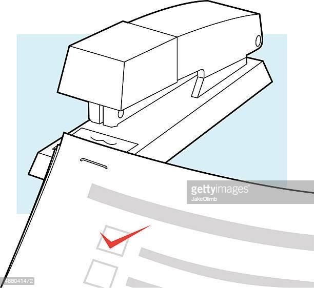 ilustrações, clipart, desenhos animados e ícones de grampeador com documentos de arte em linha - preencher um formulário
