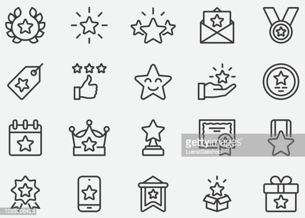 stockillustraties, clipart, cartoons en iconen met star award line-pictogrammen - beroemdheden