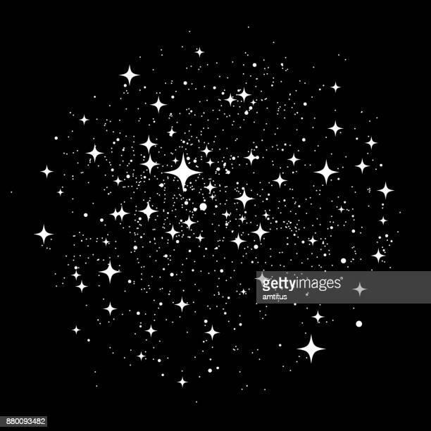 stockillustraties, clipart, cartoons en iconen met sterren stof - glimmend