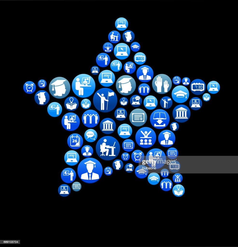 Star E-learning and College Education Blue Button Pattern : Stock Illustration