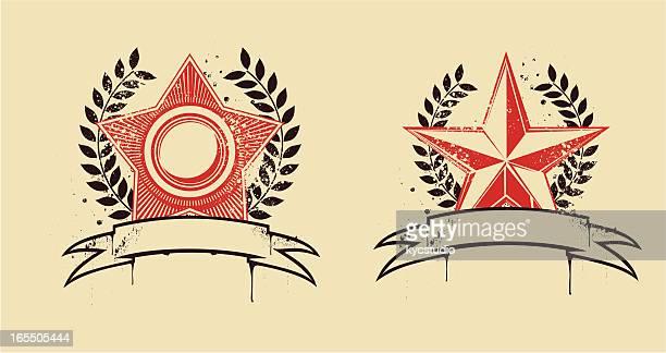 star embems - former soviet union stock illustrations