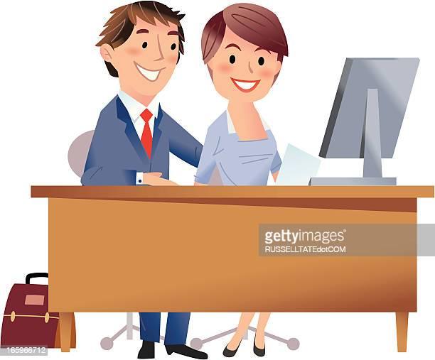 star-mitarbeiter! - work romance stock-grafiken, -clipart, -cartoons und -symbole