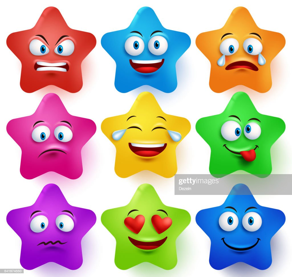 Star faces vector set with colors facial expressions and emotions