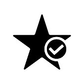 Star favorite icon. Star with tick symbol