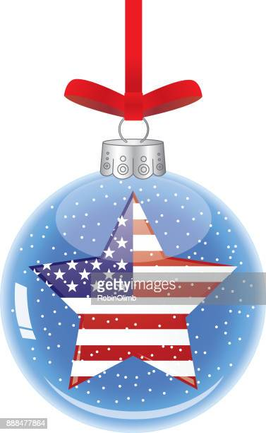 usa star glass christmas ornament - patriotic christmas stock illustrations