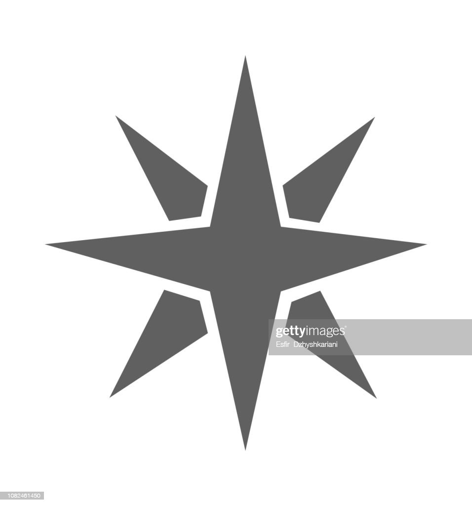 Star icon flat vector isolated on white