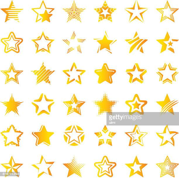 star icon set - star shape stock illustrations, clip art, cartoons, & icons