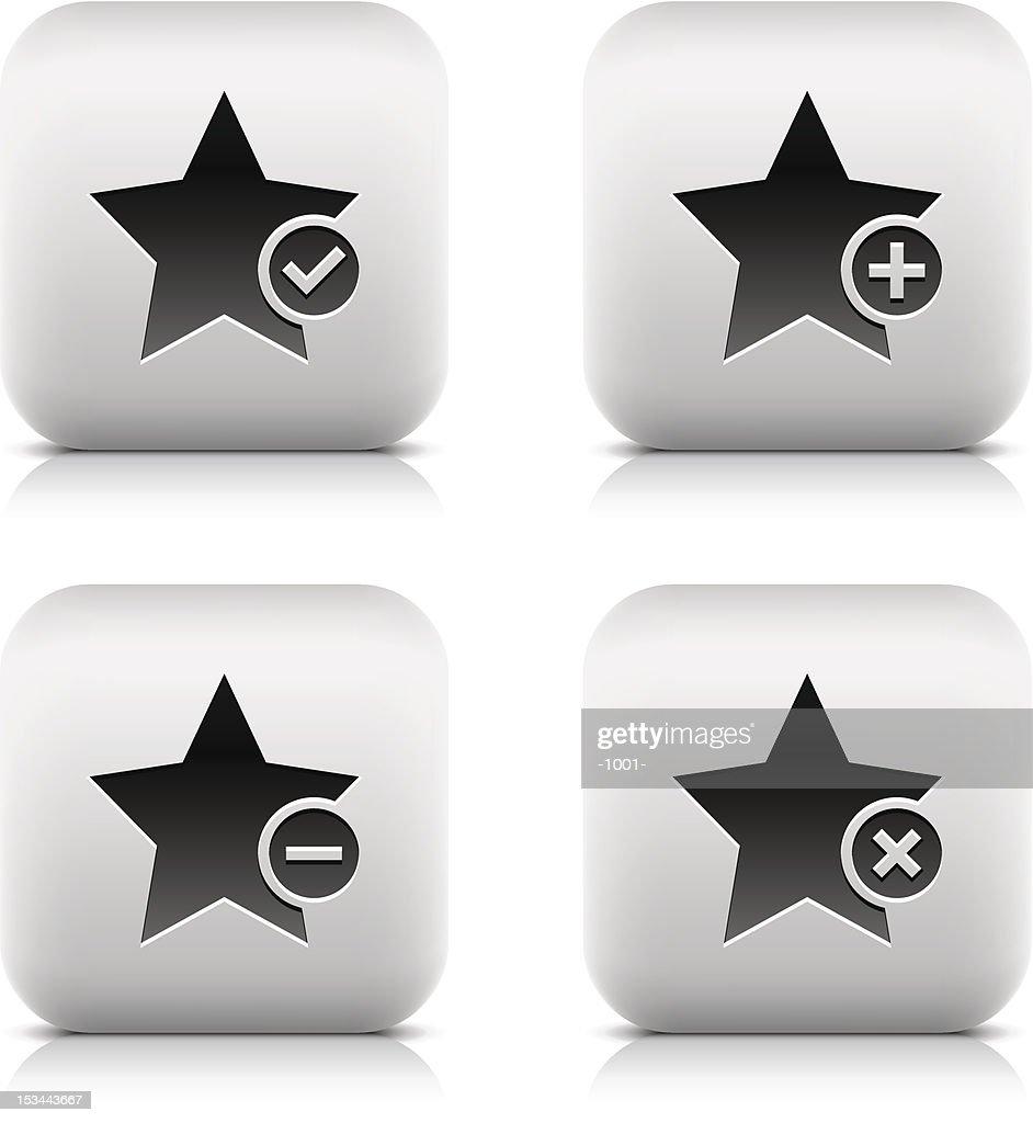 Star icon. Square button. Check mark, plus, minus, delete sign