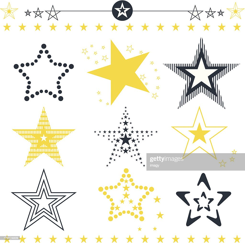 Star icons and symbols collection