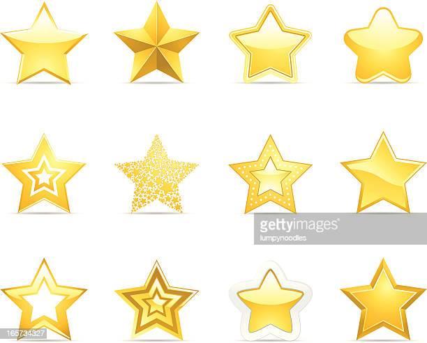 bildbanksillustrationer, clip art samt tecknat material och ikoner med star icons - stjärnformad