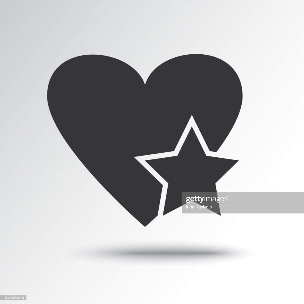 Star in heart, black icon with shadow. Vector illustration