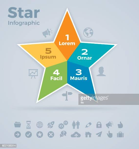 star infographic - five objects stock illustrations