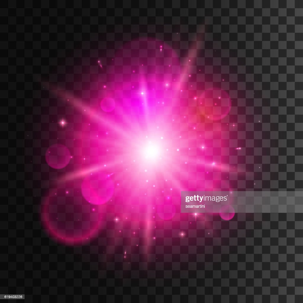 Star light with pink neon lens flare effect