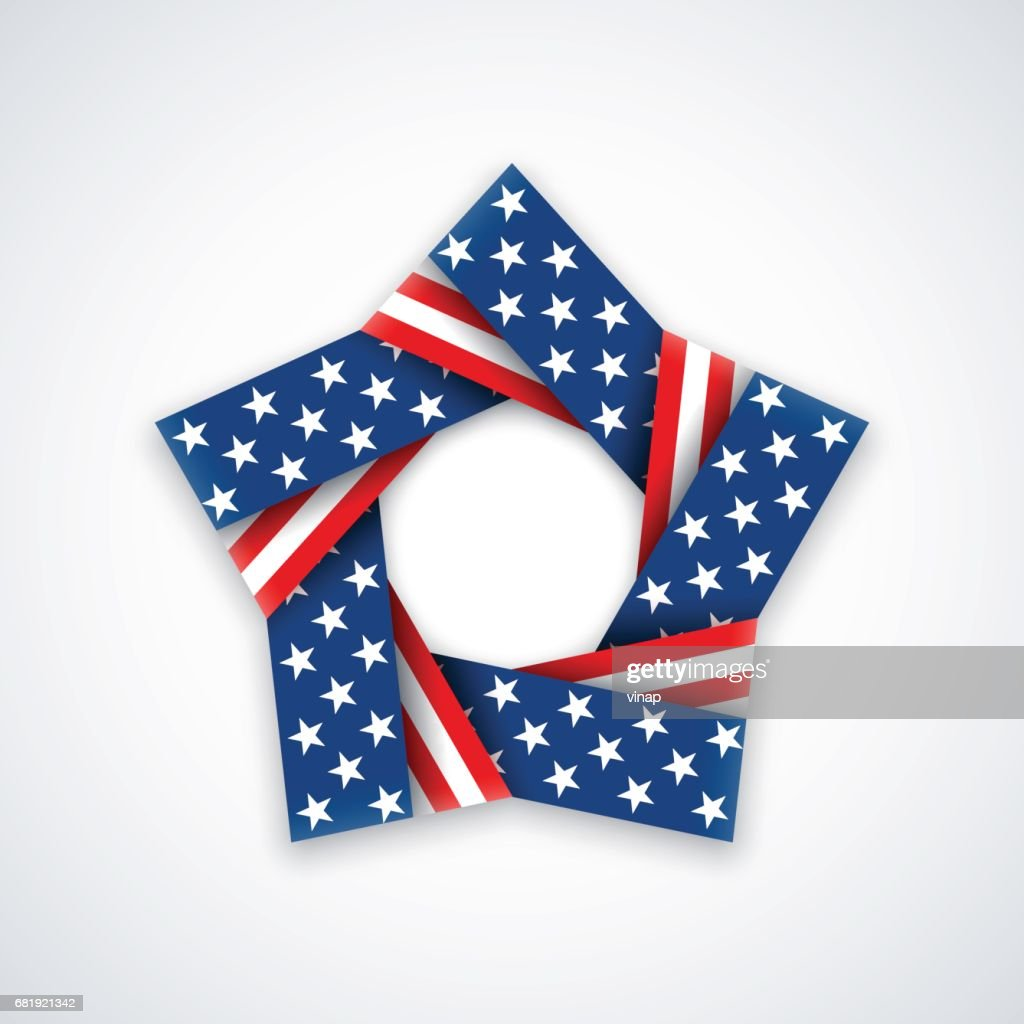 Star Made Of Double Ribbon With American Flag Colors And Symbols
