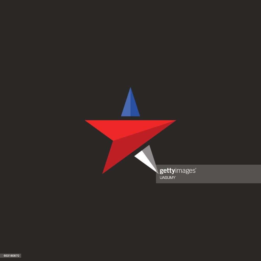 Star mockup, USA patriotic icon design element template in american flag colors, t-shirt national print
